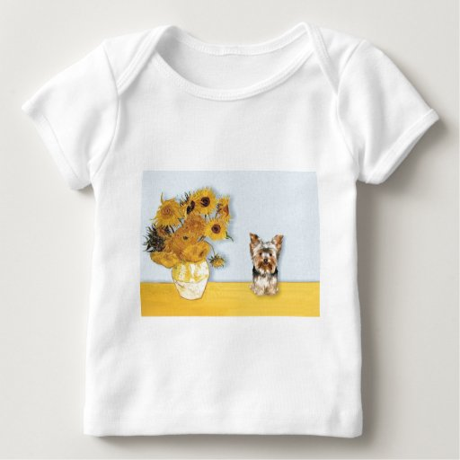 Girasoles - Yorkshire Terrier 17 Playera De Bebé