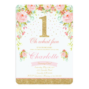 Girl birthday invitations announcements zazzle girl 1st birthday invitation floral pink gold stopboris Image collections