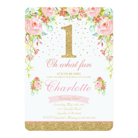 Girl 1st birthday invitation floral pink gold zazzle girl 1st birthday invitation floral pink gold filmwisefo Choice Image