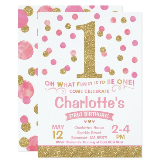 Girl 1st Birthday Invitation Pink Gold Confetti Zazzlecom