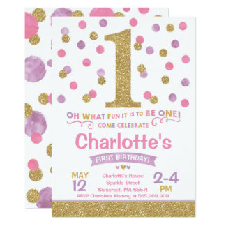 Girl 1st Birthday Invitation Pink & Gold Confetti