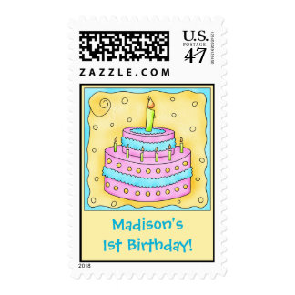 Girl 1st Birthday Party Cake Art Name Personalized Postage