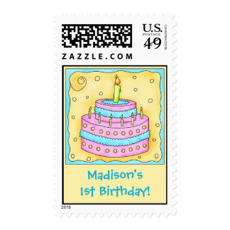 Girl 1st Birthday Party Cake Art Name Personalized Postage Stamp