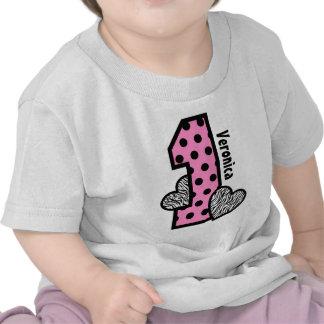 GIRL 1st Birthday PINK Polka Dots Zebra Hearts T Shirts