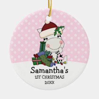 Girl 1st Christmas Santa Zebra Personalized Ceramic Ornament