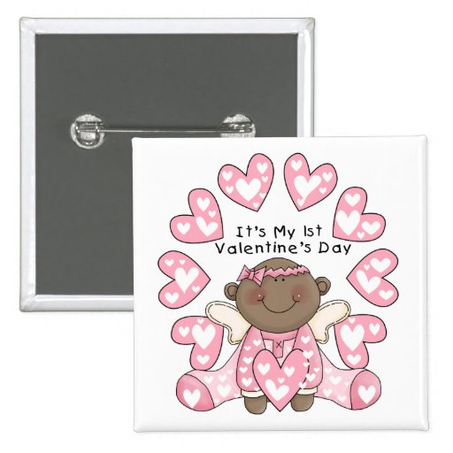 Girl 1st Valentines - African American Pinback Buttons