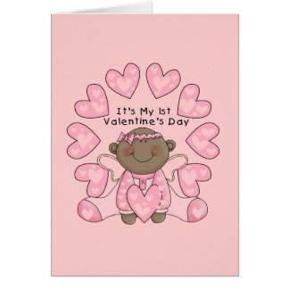 Girl 1st Valentines - African American Card