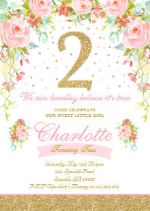 Girl 2nd Birthday Invitation Elegant Floral