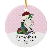 Girl 2nd Christmas Santa Zebra Personalized Ceramic Ornament