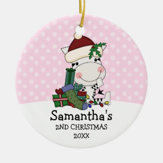 Girl 2nd Christmas Santa Zebra Personalized Ceramic Ornament