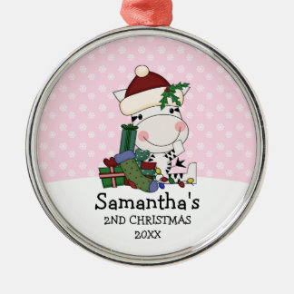 Girl 2nd Christmas Santa Zebra Personalized Metal Ornament