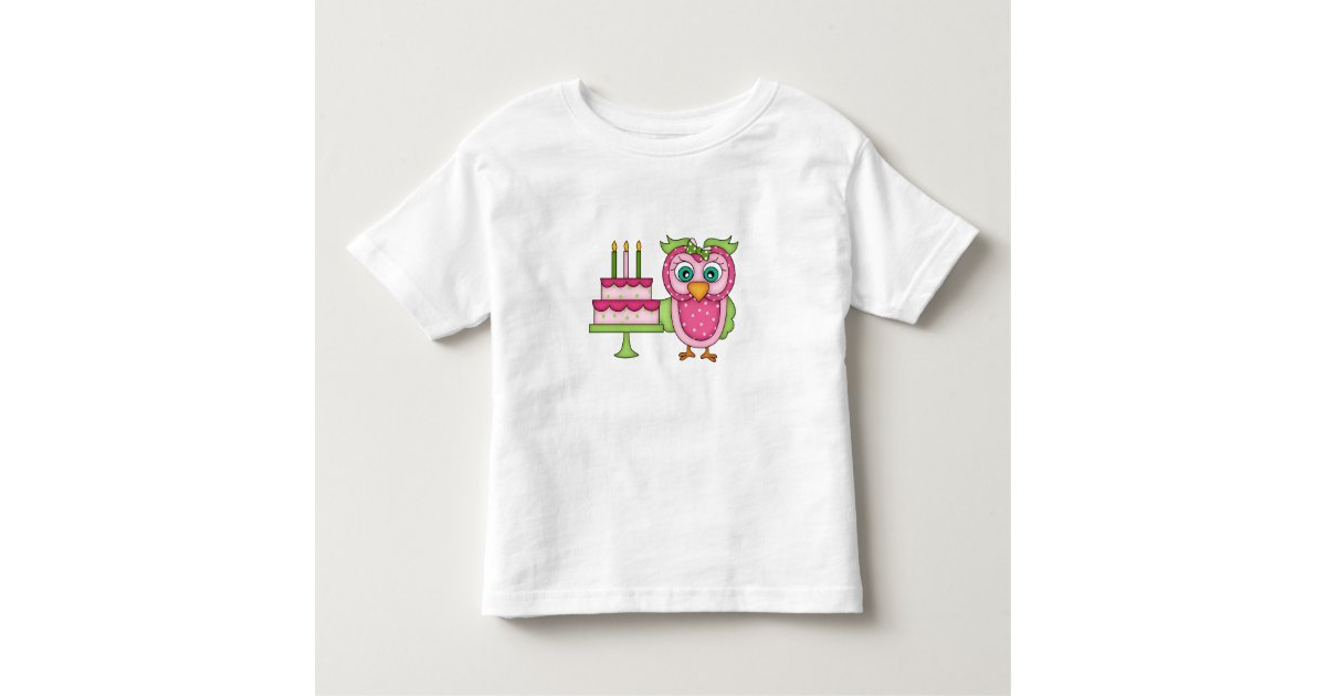 Girl 2t pink birthday owl t shirt zazzle for Owl fish clothing