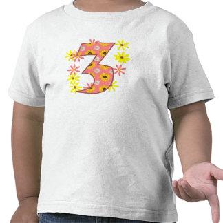 Girl 3rd birthday pink flowers t shirt