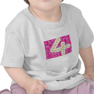 Girl 4th birthday pink flowers t-shirt