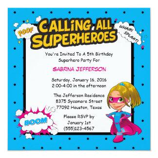 Girl 5x5 Comic Superhero Birthday Party Invitation