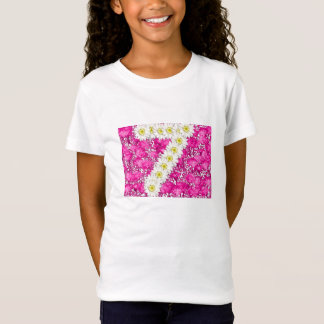 Girl 7th seventh birthday pink flowers t-shirt