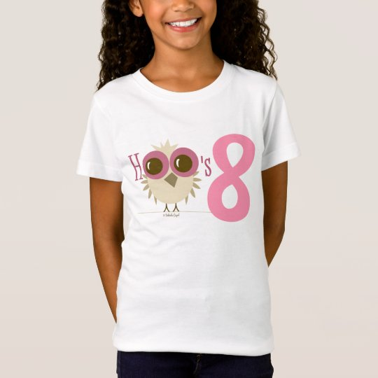 Girl 8th Birthday Party Gifts Pink Owl Age 8 T Shirt