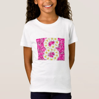 Girl 8th birthday pink flowers t-shirt