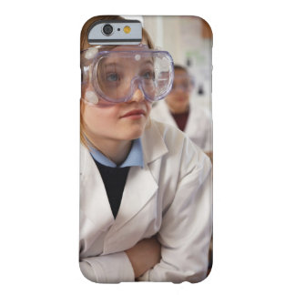 Girl (9-12) wearing protective goggles in barely there iPhone 6 case