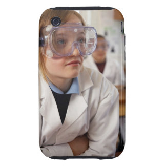 Girl (9-12) wearing protective goggles in iPhone 3 tough case
