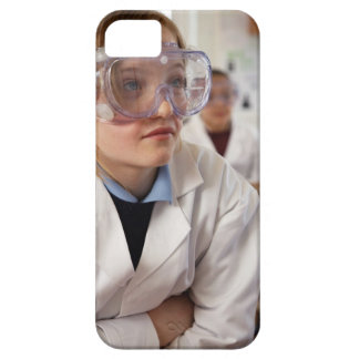 Girl (9-12) wearing protective goggles in iPhone SE/5/5s case