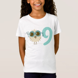 Girl 9th Birthday Party Gifts Teal Owl Age 9 T-Shirt