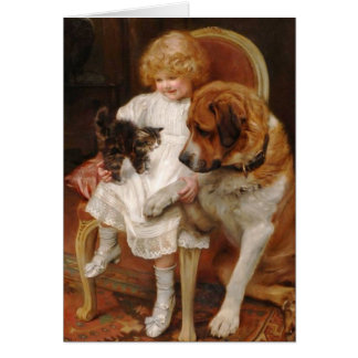 Girl, a St. Bernard and a Kitten, Card