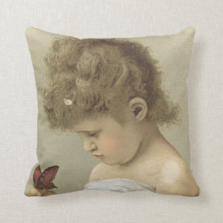 Girl Admiring Butterfly  Ephemera Throw Pillow