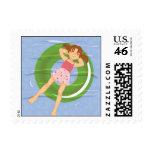 Girl Afloat Postage Stamp