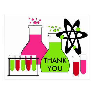 Girl All About Science Thank You Postcard