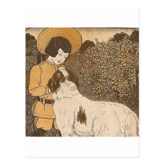 Girl and a dog postcard