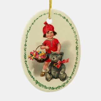 Girl and Bear Christmas Ornament