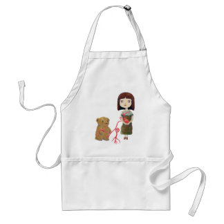Girl and Bear in Heartvines Adult Apron