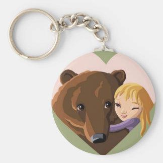 Girl and Bear Keychain