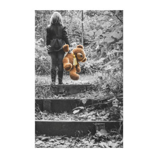 Girl and Bear Stretched Canvas Print