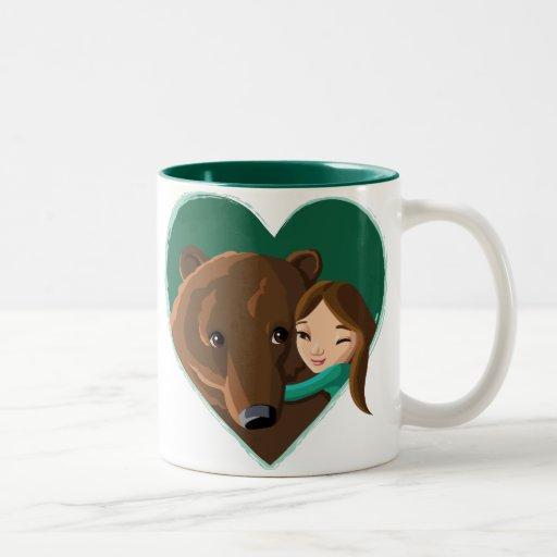 Girl and Bear Two-Tone Coffee Mug