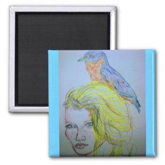Girl and Bird Magnet