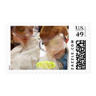Girl and boy (11-13) looking at petri dish, view stamp