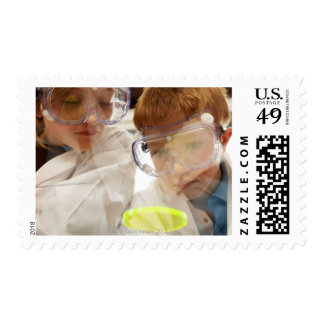 Girl and boy (11-13) looking at petri dish, view stamps