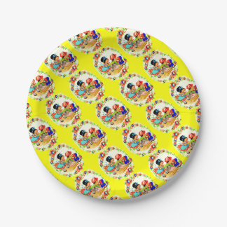 girl and boy and kitten and puppy print paper plate