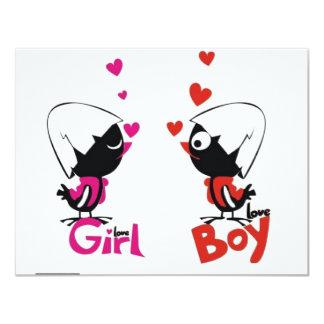 "Girl and boy love 4.25"" x 5.5"" invitation card"