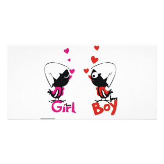 Girl and boy love photo cards
