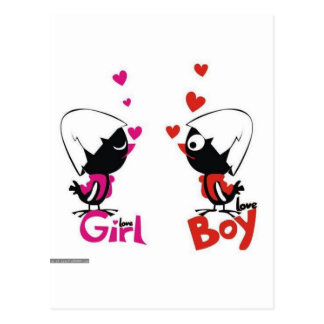 Girl and boy love postcard