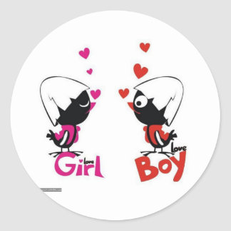 Girl and boy love stickers