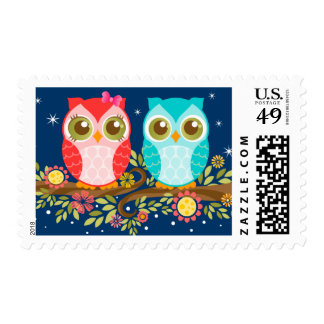 Girl and Boy Owl Couple - Night Sky Postage Stamps
