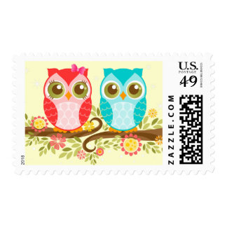 Girl and Boy Owls on Flower Branch Postage Stamps