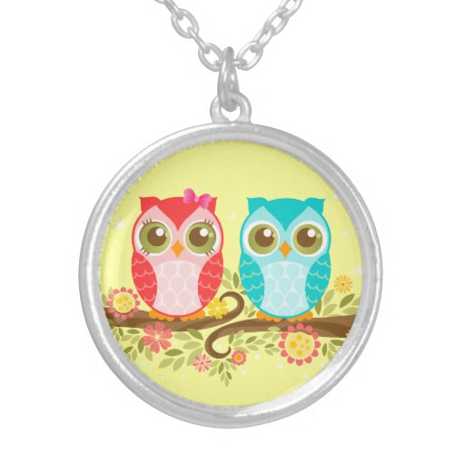 Girl and Boy Owls on Flowery Branch - Necklace