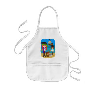 Girl and Boy Pirates with Ship on Beach Apron