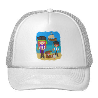 Girl and Boy Pirates with Ship on Beach Hat