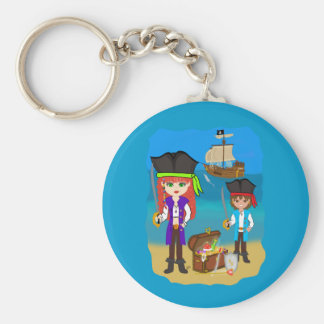 Girl and Boy Pirates with Ship on Beach Keychain